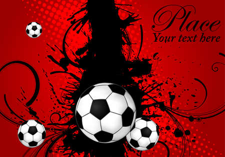 Soccer ball on grunge background, element for design, vector illustration Stock Vector - 9552947