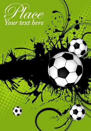 buiten sporten: Soccer ball op grunge achtergrond, element voor ontwerp, vectorillustratie Stock Illustratie