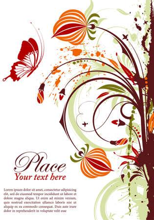 Marco floral grunge con mariposa, elemento de dise�o, ilustraci�n vectorial Foto de archivo - 9552938