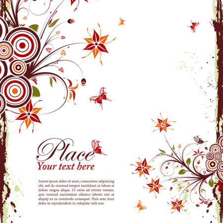 Grunge decorative floral frame with butterfly, element for design, vector illustration