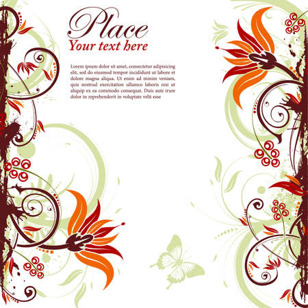 Grunge decorative floral frame with butterfly, element for design, vector illustration