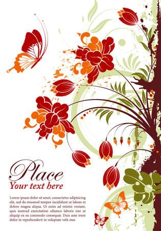 floral silhouette: Grunge floral frame with butterfly, element for design, vector illustration Illustration
