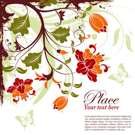 Grunge decorative floral frame with butterfly, element for design, vector illustration Stock Vector - 9552943