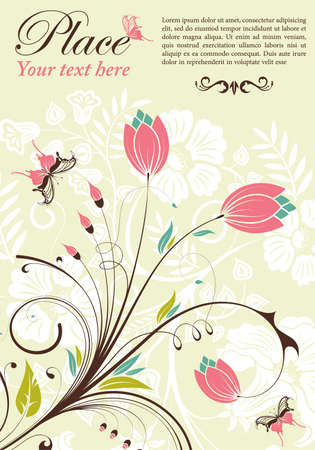 bloom: Flower frame with butterfly, element for design, vector illustration