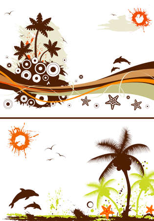 Collect grunge summer backgrounds with starfish, element for design, vector illustration Vector
