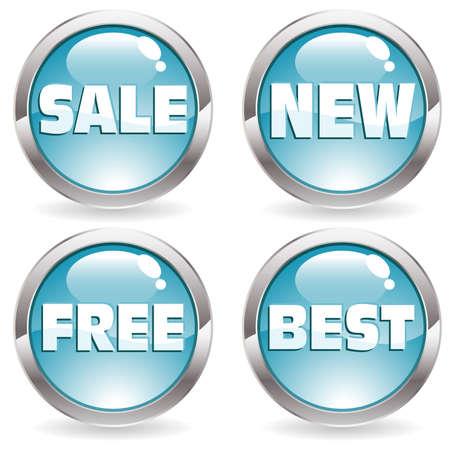 Set of buttons with label for trade, vector illustration Ilustração
