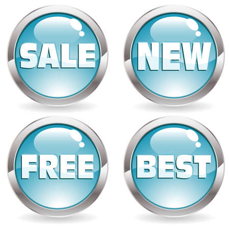 Set of buttons with label for trade, vector illustration