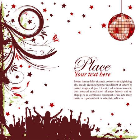 invitaci�n a fiesta: Marco partido con flores y baile siluetas, elemento de dise�o, ilustraci�n vectorial