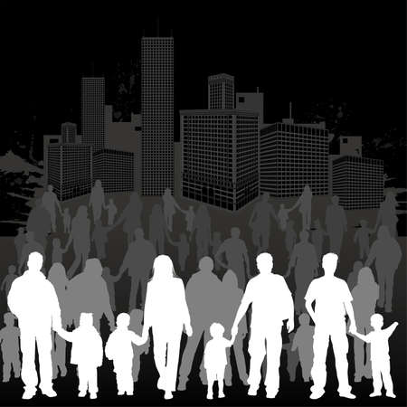 Big collect vector silhouettes of parents with children on grunge urban background, element for design Illustration