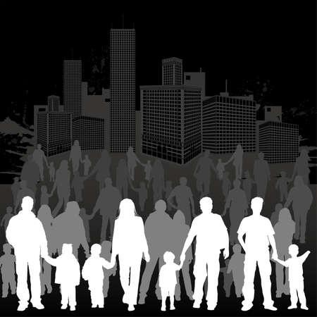 papa y mama: Recoger grandes siluetas vector de padres con hijos en segundo plano urbano grunge, elemento de dise�o