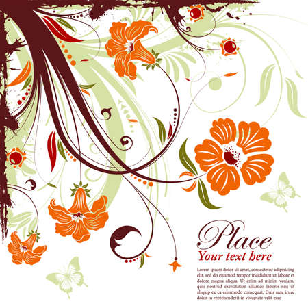 Grunge decorative floral frame with butterfly, element for design, vector illustration Stock Vector - 9582027
