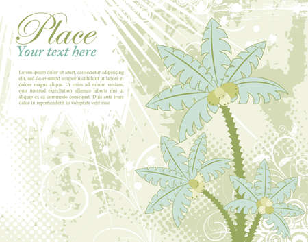 leafed: Grunge summer background with palm tree, flower, starfish and circle, element for design, vector illustration