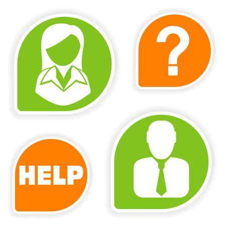 hotline: Sticker met zakelijke vrouw en man icoon, vectorillustratie verzamelen Stock Illustratie