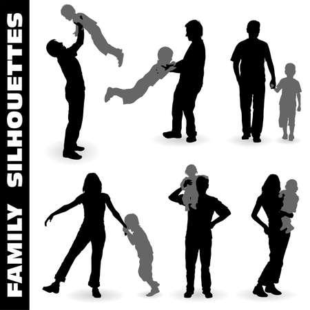 徒歩、設計のための図は子供とシルエットの幸せな家族を収集ベクトルします。 ベクターイラストレーション