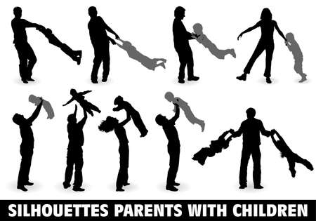 ser padres: Grandes recoger vector silueta familia feliz con el ni�o en pie, ilustraci�n de dise�o