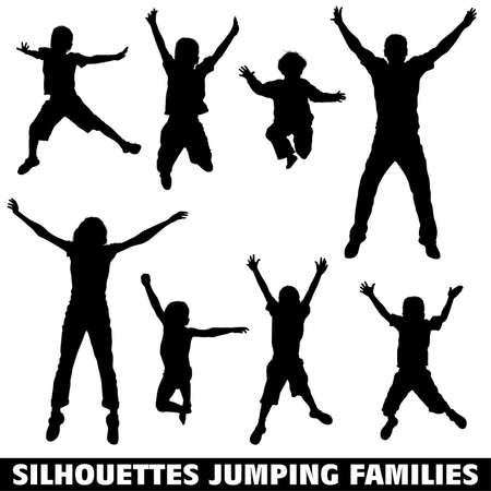 Collect vector silhouettes of a happy jumping family, illustration for design