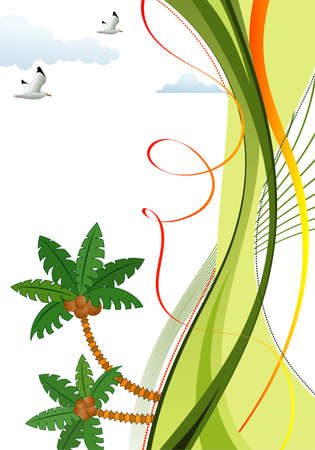 Summer frame with palm tree, seagull and wave pattern, vector illustration Vector