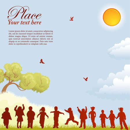 kind silhouet: Silhouetten van kinderen op aard achtergrond met vogel, zon, boom en gras, element voor ontwerp, vector illustratie