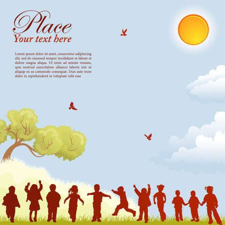 kids drawing: Silhouettes of children on nature background with bird, sun, tree and grass, element for design, vector illustration