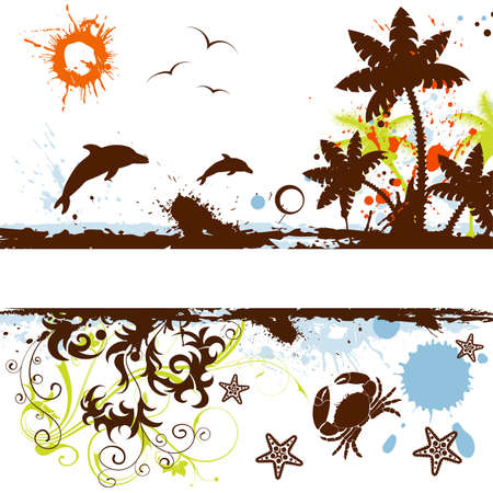 blot: Grunge summer frame with palm tree, dolphin, starfish, crab, vector illustration Illustration