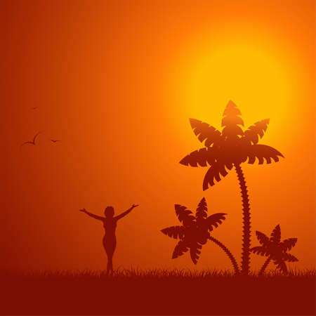 Summer background with palm tree and young girl, element for design, vector illustration Vector