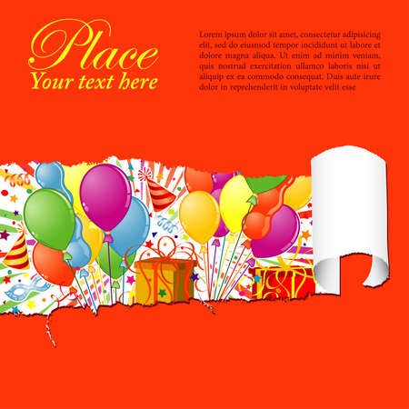 paper mask: Party Frame with Balloon, streamer, carnival mask and hat through a hole in a paper, vector illustration