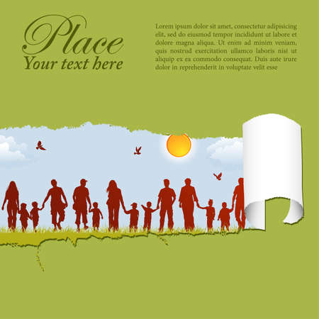 Silhouettes of family on nature background with bird, sun and grass through a hole in a paper, vector illustration