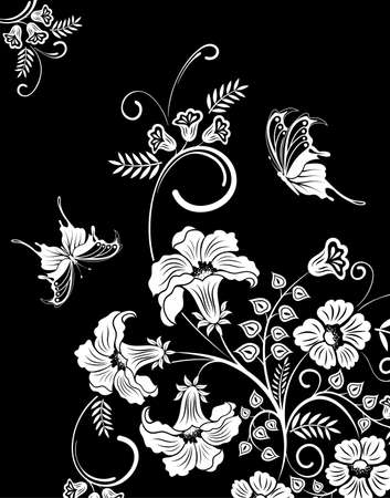 subdued: Flower frame with butterfly, element for design, vector illustration