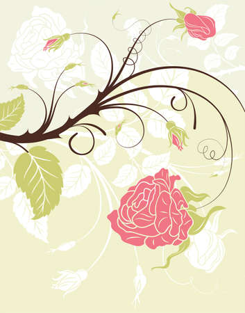a bud: Flower frame with rose, element for design, vector illustration