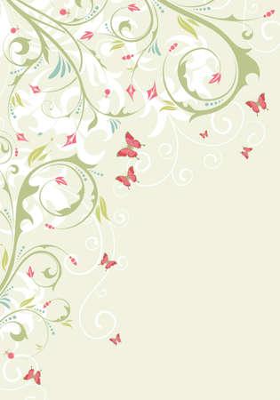 Flower frame with butterfly, element for design, vector illustration Stock Vector - 9717760