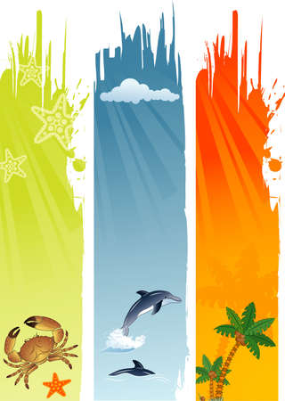 Three summer banner with palm tree, coconut, dolphin, crab, starfish, vector illustration Vector