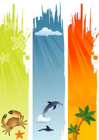 surf silhouettes: Tre estate banner con Palma, cocco, delfino, granchio, stelle marine, illustrazione vettoriale Vettoriali