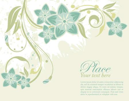 floral border frame: Grunge decorative floral frame with bud, element for design, vector illustration Illustration