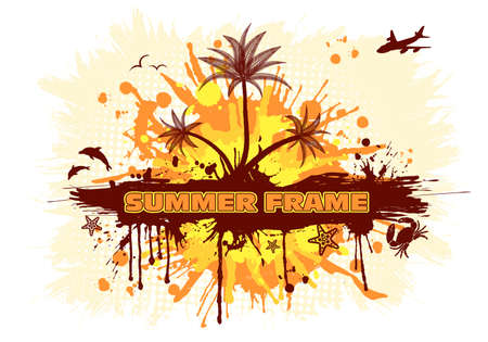 Summer frame with palm tree, dolphin, crab, starfish, vector illustration Vector