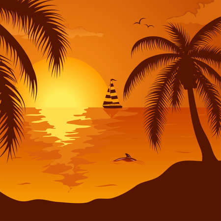 Summer background with palm tree, dolphin and yacht, element for design, vector illustration Vector