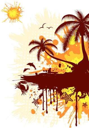 gull: Summer frame with palm tree, dolphin, crab, starfish, vector illustration