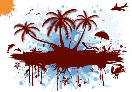 plane tree: Summer frame with palm tree, dolphin, crab, starfish, vector illustration