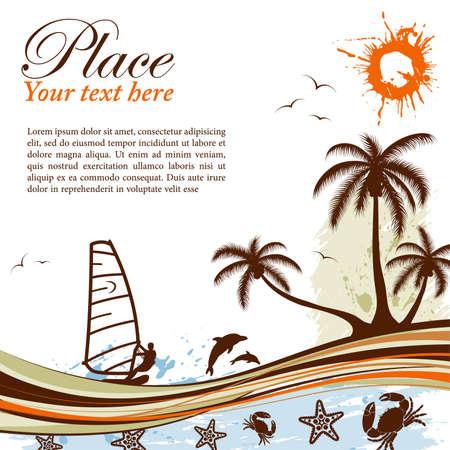 gaviota: Fondo de verano grunge con palmera, Delf�n, windsurf, cangrejo, patr�n, ilustraci�n de vector de onda
