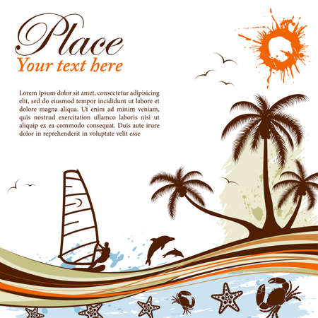 Grunge summer background with palm tree, dolphin, windsurf, crab, wave pattern, vector illustration Illustration