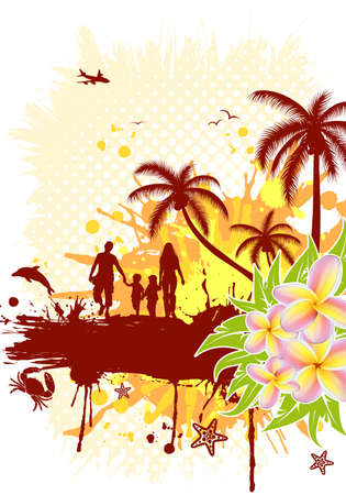 Summer frame with palm tree, dolphin, crab, family, vector illustration Vector