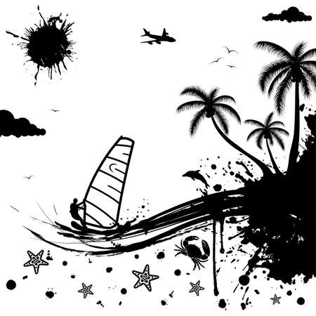 Isolated summer background with palm tree, dolphin, windsurf, crab, wave pattern, vector illustration
