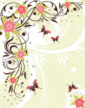 gentle: Grunge flower frame with butterfly, element for design, vector illustration