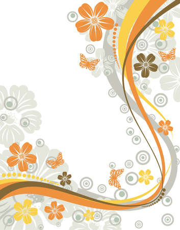 Flower frame with butterfly and wave pattern, element for design, vector illustration