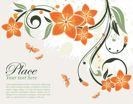delicate: Grunge decorative floral frame with butterfly, element for design, vector illustration