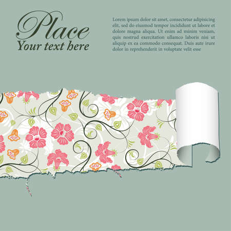 Floral Background through a hole in a paper, element for design, vector illustration