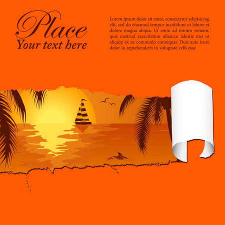 Summer background with palm tree, dolphin and yacht through a hole in a paper, vector illustration