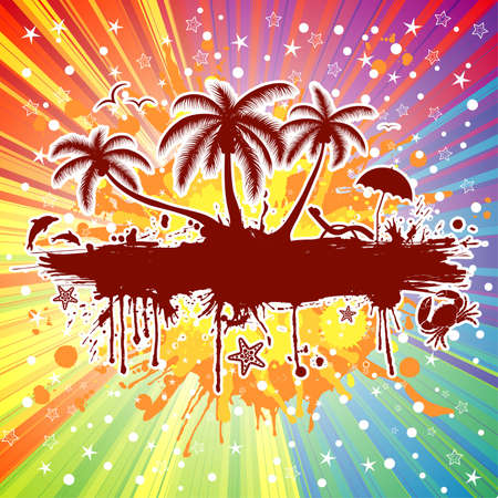 Summer frame with palm tree, dolphin, crab, on colorful background, vector illustration Vector