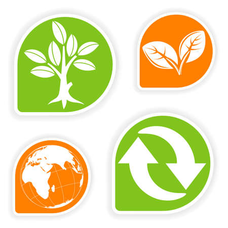 collect: Collect sticker with environment icon, tree, leaf, Earth and Recycling Symbol, vector illustration