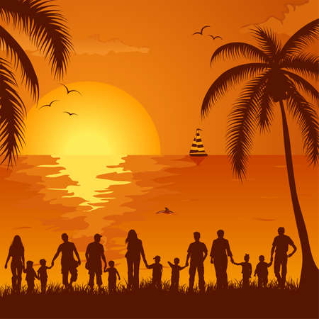 Summer background with silhouette family, palm tree, dolphin and yacht, element for design, vector illustration Illustration