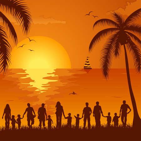 dieren: Zomer achtergrond met silhouet familie, palmboom, dolfijn en jacht, element voor ontwerp, vector illustration Stock Illustratie
